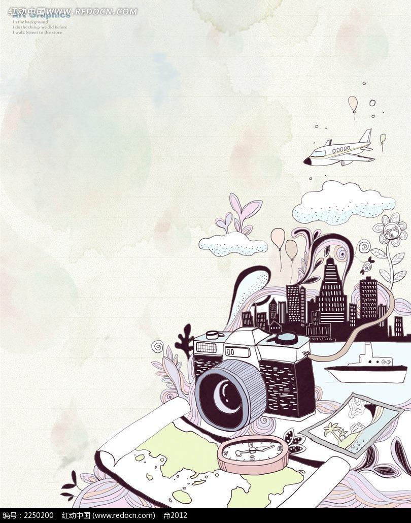 相机卡通背景素材