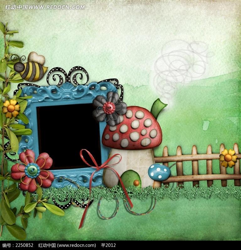 免费素材 psd素材 psd花纹边框 边框相框 可爱田园风相册背景