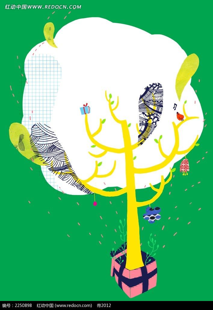 大树卡通海报背景素材