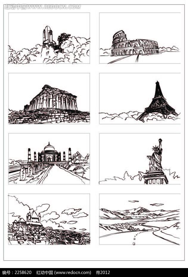 手绘建筑插图 建筑插画