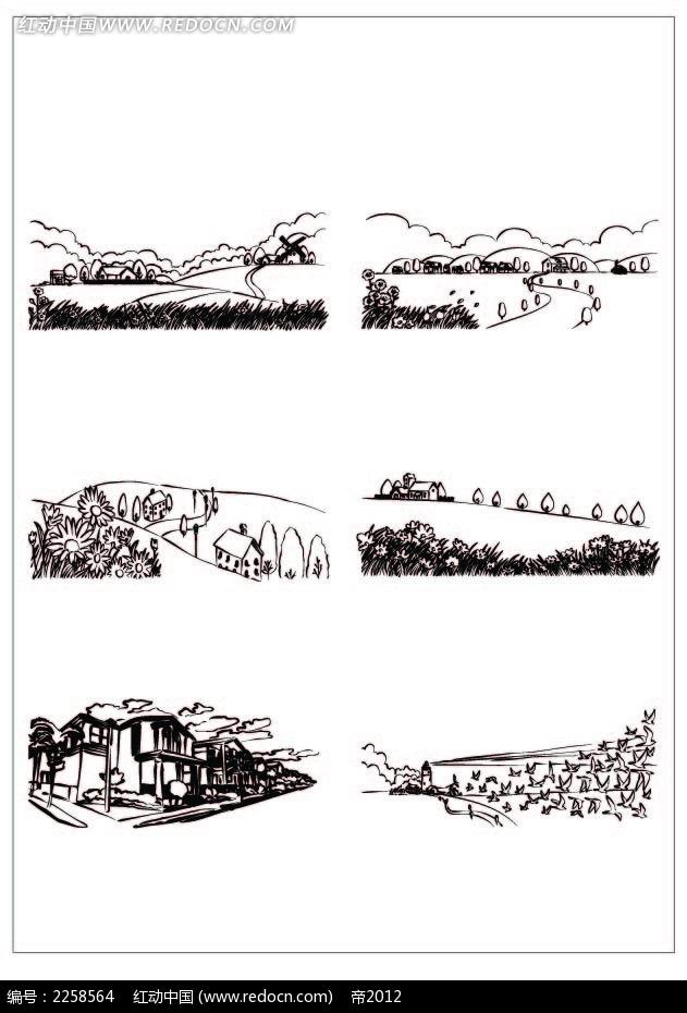 黑白矢量乡村插图