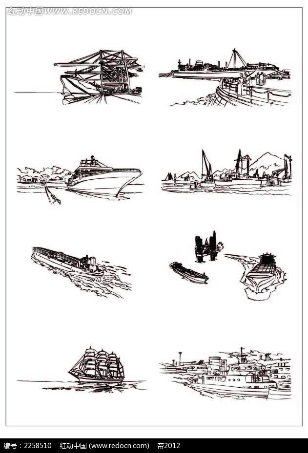 河流船舶黑白插图