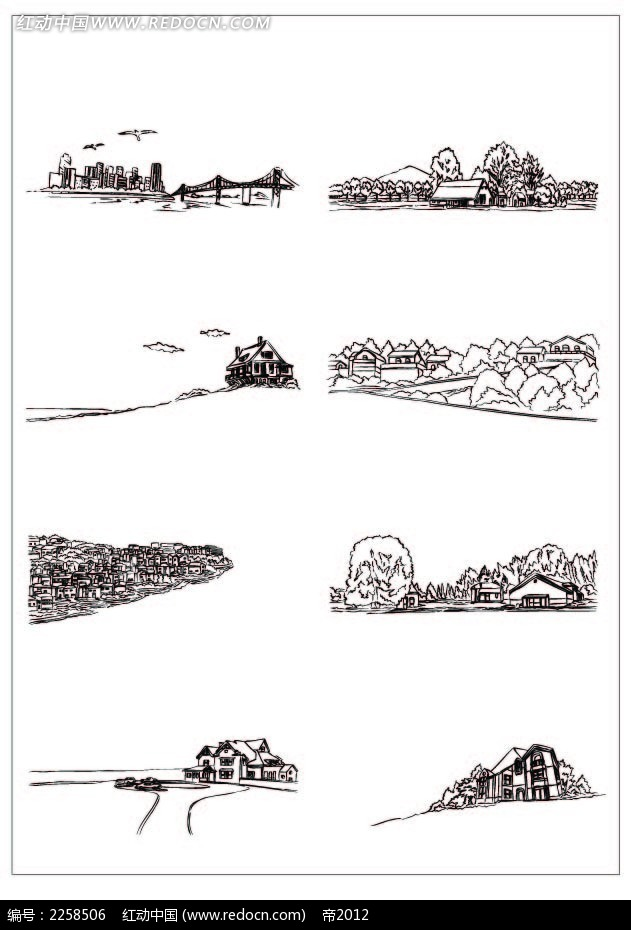 乡村黑白风景插图