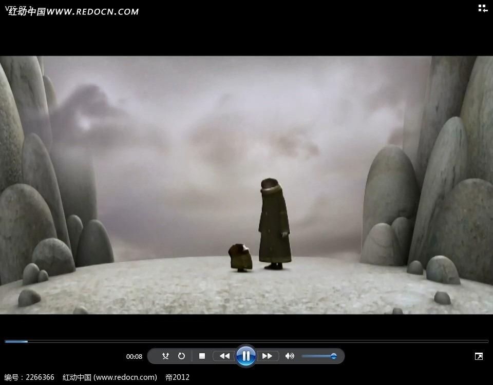 卡通大人小孩黑衣人动画视频