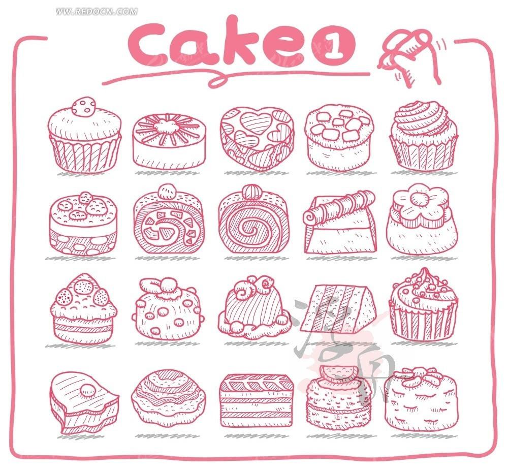 蛋糕铅笔画 手绘