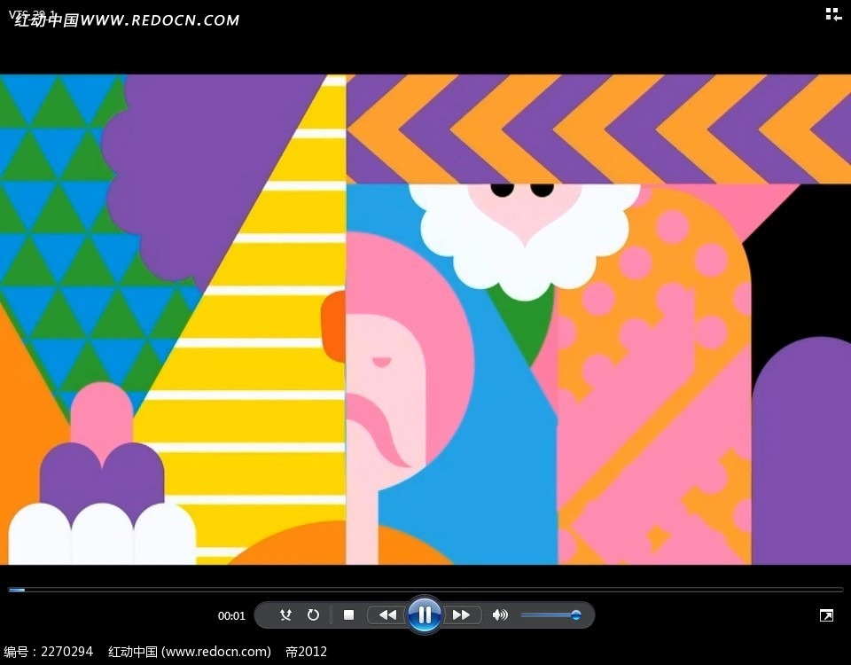 彩色几何人物动画视频