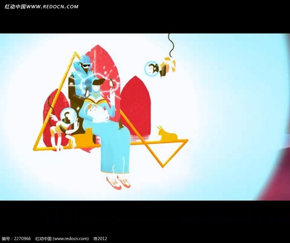 彩色卡通人物视频