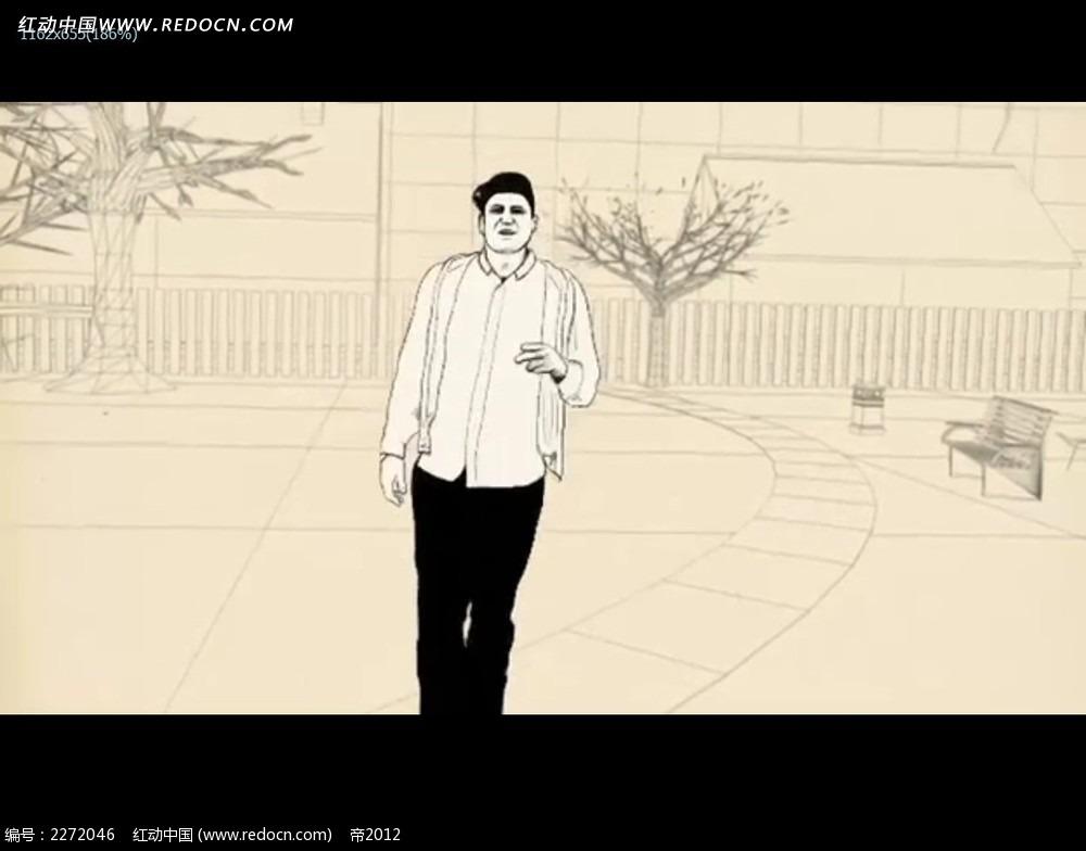 手绘动画场景人物视频