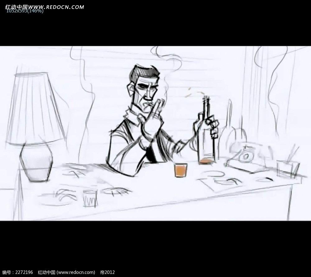 黑白手绘线稿人物视频