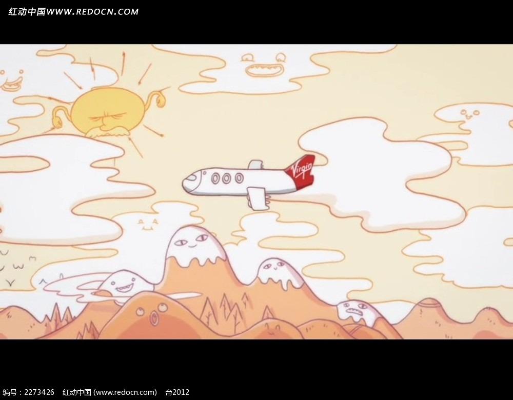 卡通飞机飞行动画视频