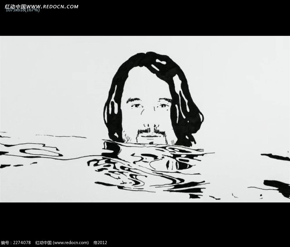 黑白人物水倒影视频