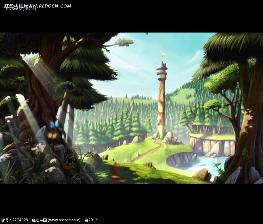 卡通森林动画场景视频