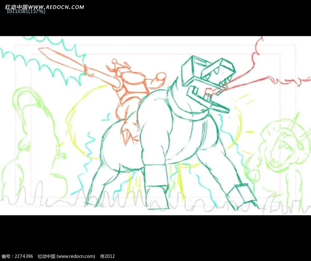 恐龙怪兽卡通线条画视频