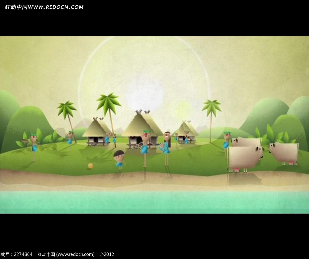 卡通山水度假村动画视频