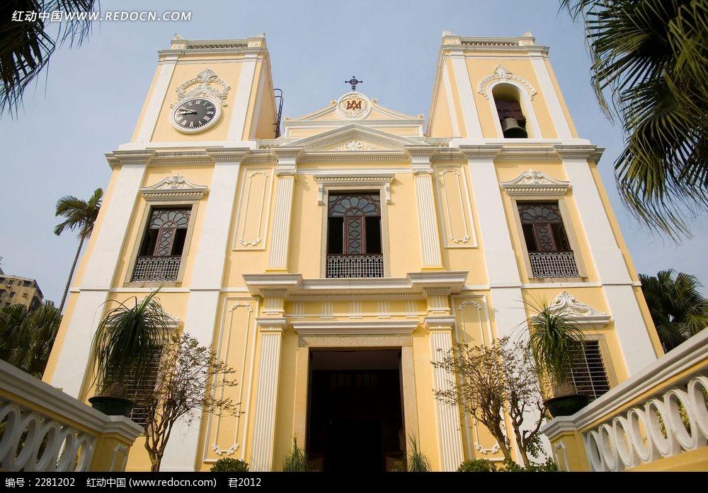 澳门欧式教堂外景高清摄影图
