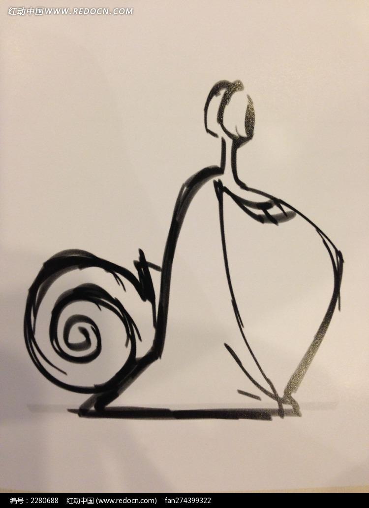 黑白手绘胖蜗牛图片