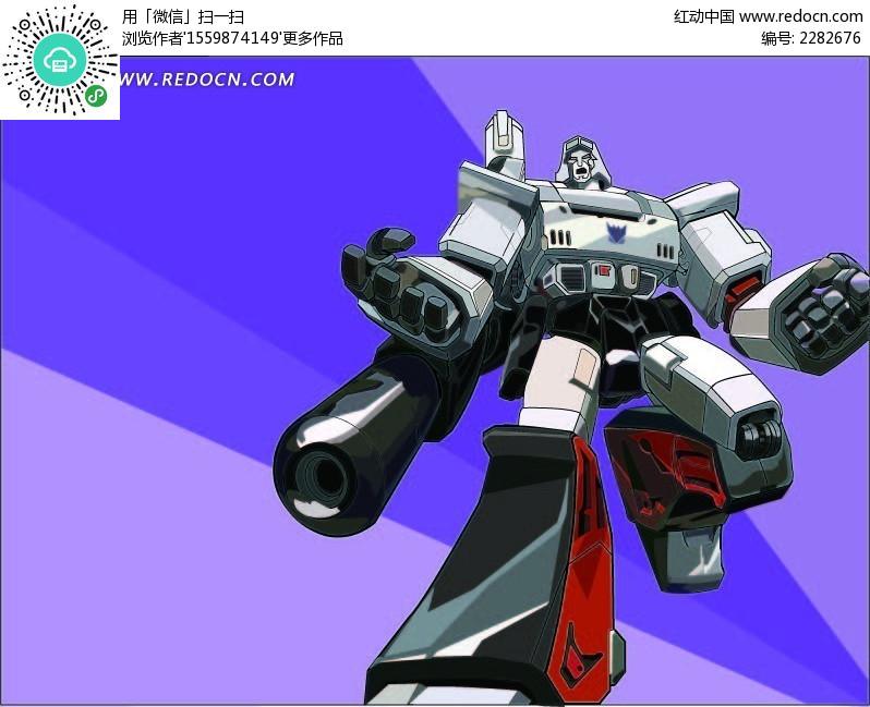 仰视变形金刚机器人 卡通人物矢量图下载 编号 2282676高清图片