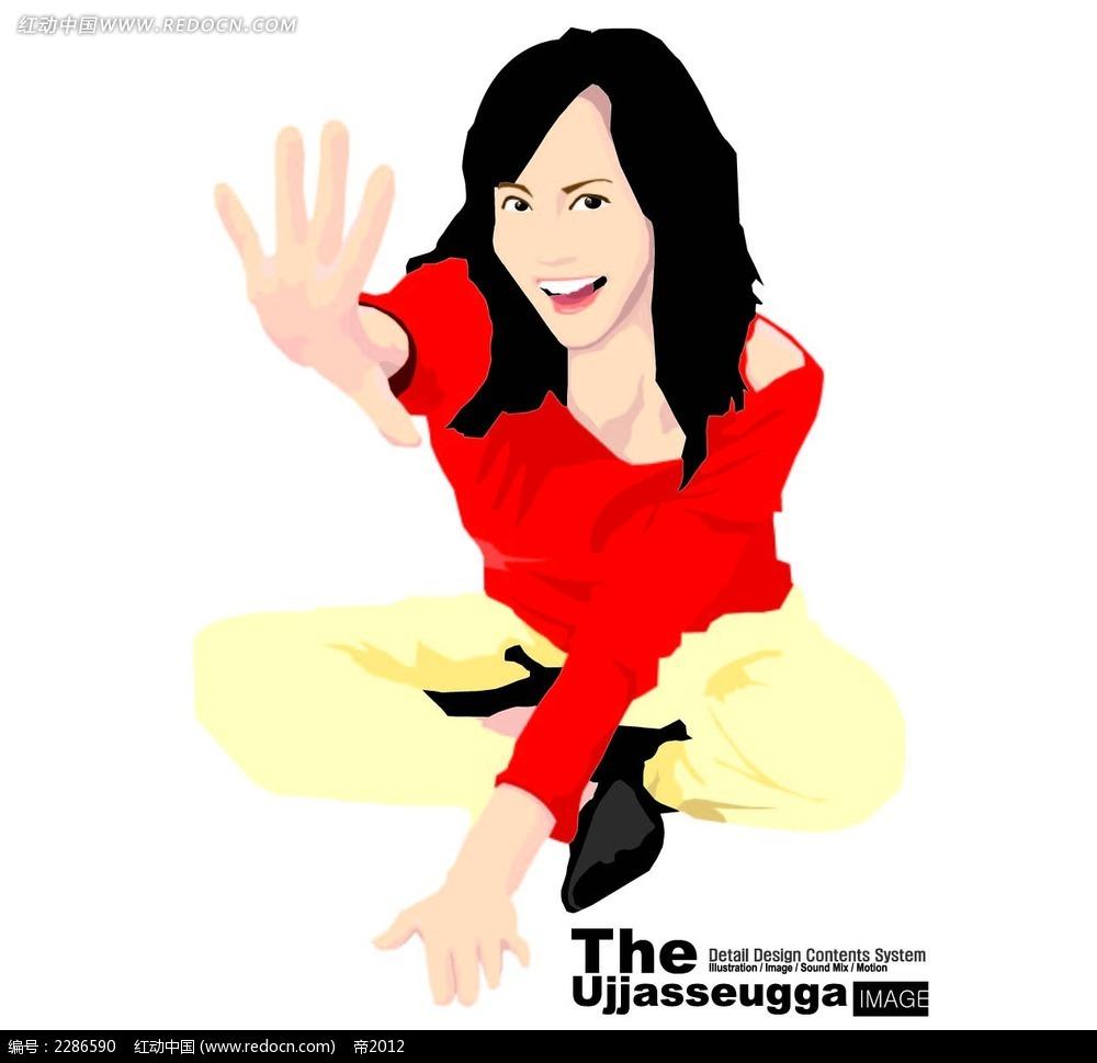 > 伸出手掌的女孩卡通矢量人物插画  伸出五指手指的女孩 盘腿坐着的