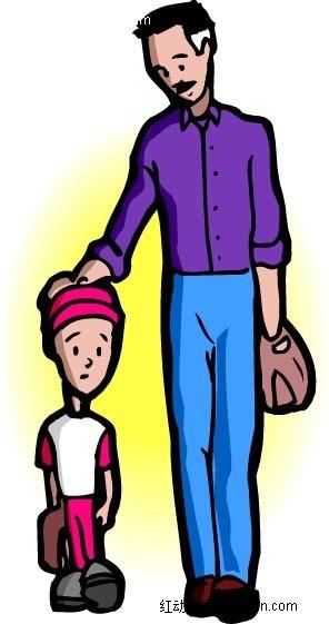 带着孩子的爸爸人物插画