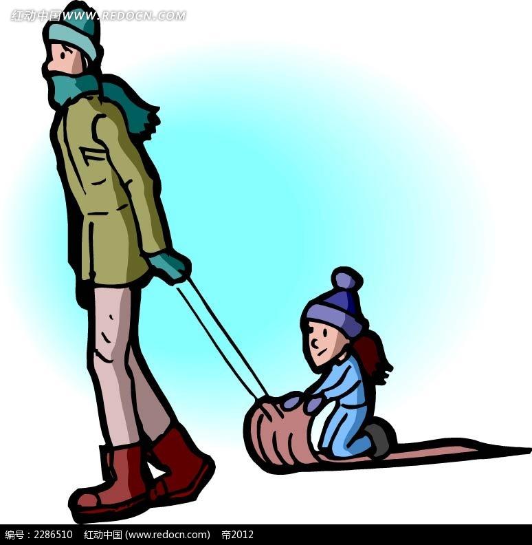 爸爸带着小孩拉雪橇人物插画