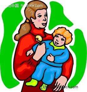 哄孩子的妈妈人物插画ai免费下载_卡通形象素材