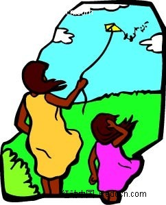 放风筝的女子和小孩卡通手绘AI素材免费下载 编号2286484 红动网图片