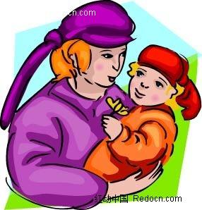 抱小孩的女子卡通手绘