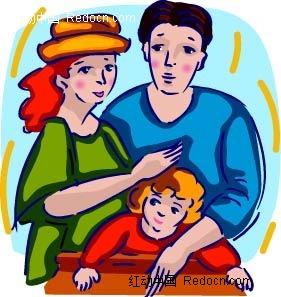 父母和小孩卡通手绘