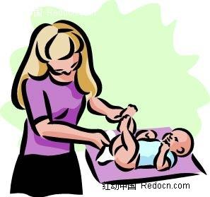 给小孩换尿布的女子卡通手绘