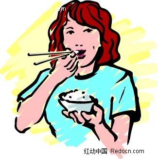 吃饭的女人卡通手绘