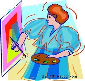 画油画的女生韩国矢量人物插画