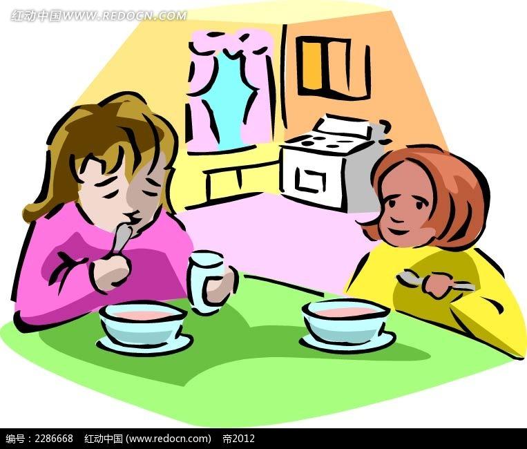 吃饭的女孩卡通手绘