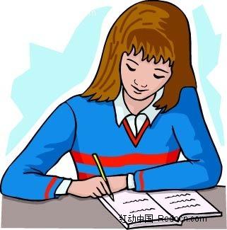 做作业的女孩子时尚矢量人物插画