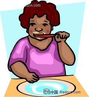 刷牙的小孩子卡通矢量人物插画