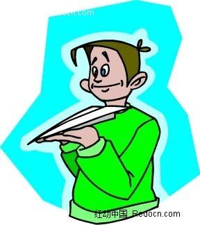 玩飞机的男人卡通矢量人物插画