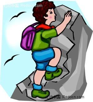 攀登的男孩卡通手绘