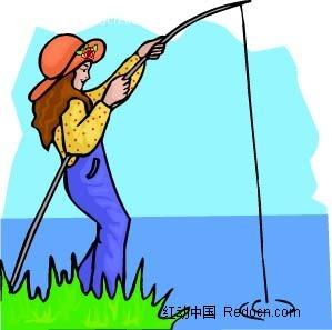钓鱼的女孩卡通手绘