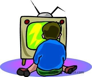 看电视的男孩卡通手绘