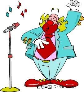 唱歌的男子卡通手绘