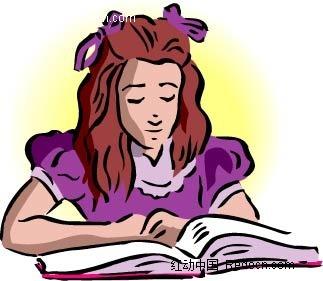 看书的女孩卡通手绘