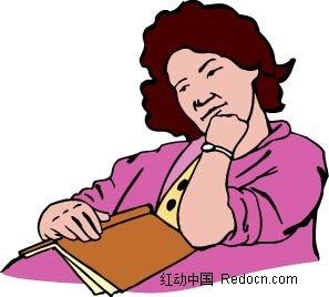 支着下巴的女子卡通手绘矢量图