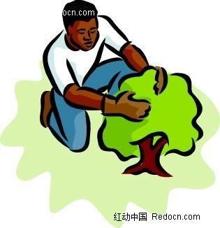 男子和小树卡通手绘