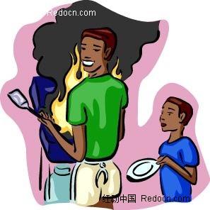 男子和小孩卡通手绘
