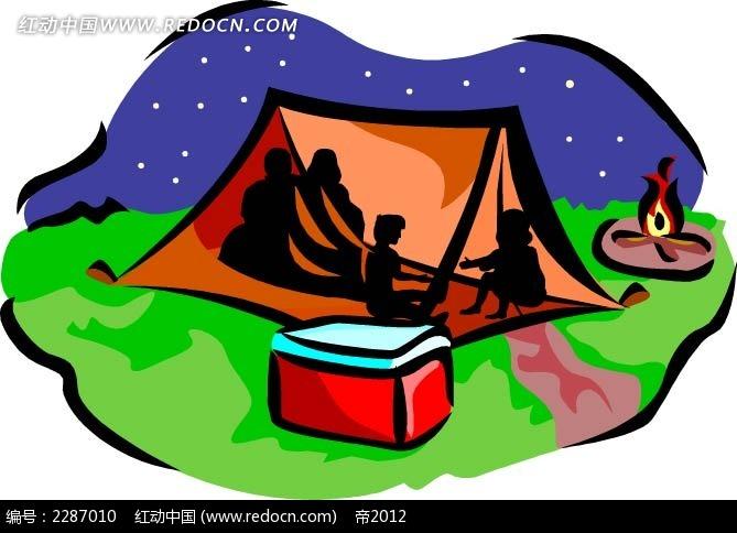 帐篷和人卡通手绘