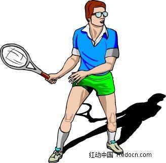 打网球的男子卡通手绘