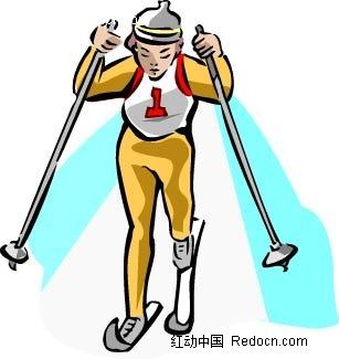 滑雪的男孩卡通手绘
