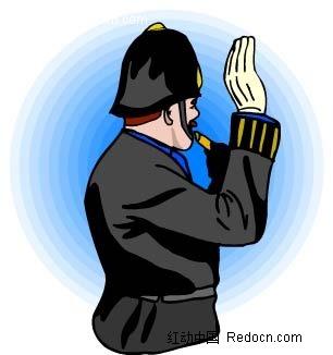 吹哨子的男子卡通手绘