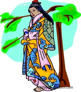古装女子和树卡通手绘