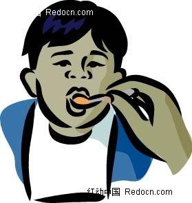 吃饭的男孩卡通手绘ai免费下载_卡通形象素材