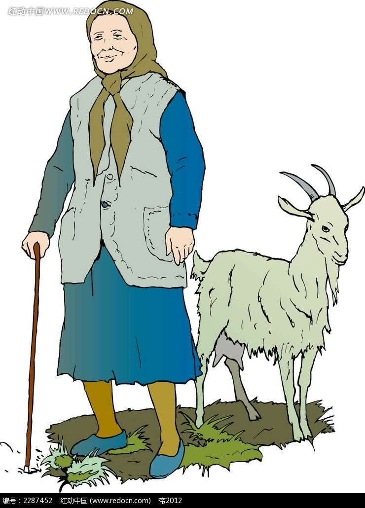 老人和山羊卡通手绘